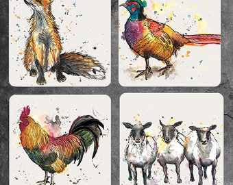 Set of 4 mixed countryside animal coasters