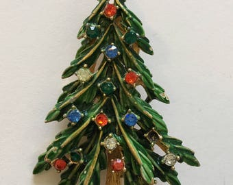 Vintage signed Art Christmas tree brooch