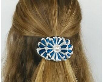 Satin french barrette blue and grey/Kanzashi flower hair clip/Original Hair Accessory