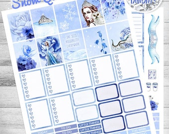 Winter printable Planner Stickers, use with Erin Condren, Snow Queen, Owl stickers, Digital, Belle, blue, grey, winter kit, Cut Files, glam