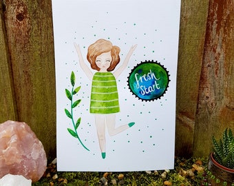 Watercolour girl painting - Happy girl art - Original green artwork - Whimsical wall art - inspirational art - wall art - Positive quote