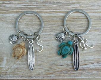Beach Inspired Key chain, Ocean Lovers' Key chain, Surfer Key chain, Personalized Key chain, Initial Key chain, Personalized Gift