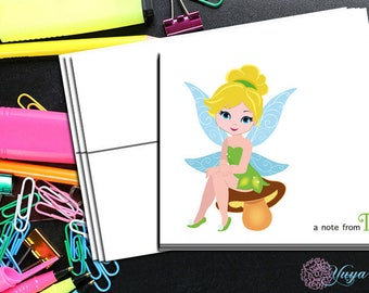 Fairy princess  Notecard / Custom girl tinker Stationery / Girl fairy never land Stationery Set / Girl Thank You Cards / Set of 12 Kid Notes