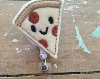 Pizza ID badge reel holder retractable clip