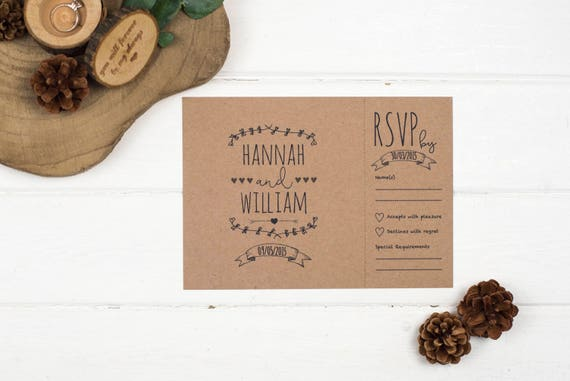 Rustic Wedding Invitation - A5 Rustic Kraft