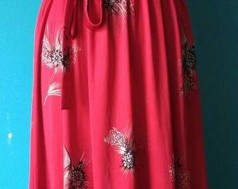 Sleeveless red burgundy flower dress vintage