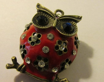 Red Enamel Bronze Owl Pendant with Rhinestone Accents, 1 1/4""