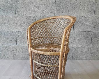 70s kids rattan chair