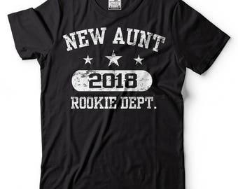 Aunt T-Shirt New Aunt 2018 Rookie Dept Tee Shirt Birth Announcement Family Tee Shirt