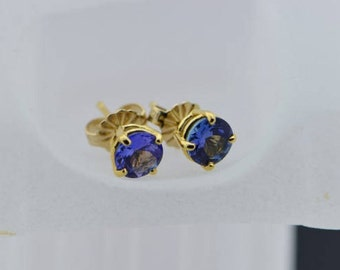 14K Yellow Gold Synthetic Tanzanite Stud Earrings