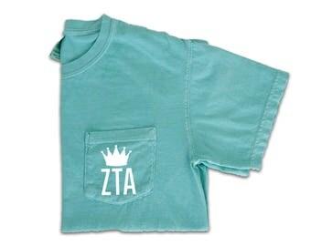 Zeta Tau Alpha Shirt, Zeta Tau Alpha Comfort Colors, Zeta Crown, Zeta Tau Alpha Pocket Tee, Zeta Sorority Shirt, ZTA Crown Pocket Shirt