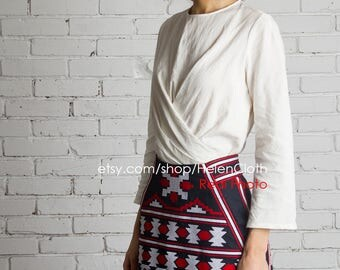 Short Embroidered High Waist Skirt Vyshyvanka Mini Style Bohemian Look Custom Made Ukrainian National Clothing Ethno Folk Dark Blue Skirt
