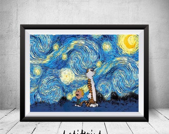 Calvin and Hobbes Starry Night, Calvin and Hobbes Art Print, Calvin and Hobbes Poster, Van Gogh, Wall Art Decor, Calvin and Hobbes Artwork