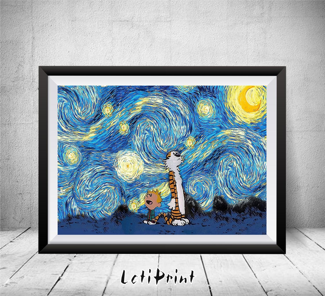 calvin and hobbes starry night calvin and hobbes art print zoom