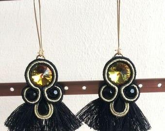 Soutache Earrings, Soutache, Black Earrings, Tassel Earrings, Statement Earrings, Gold, Swarovski Earrings