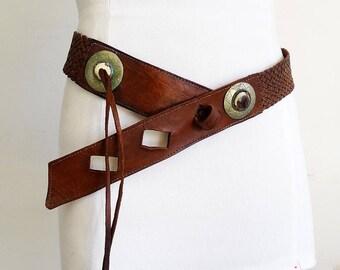 Tribal belt leather native belt woven leather belt braided belt brown bohemian women belt boho genuine leather belt vintage