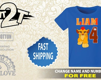 Lion Guard Birthday T-Shirt, Custom Name and Number