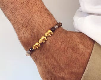 Men's Beaded Bracelet, Bright Beaded Bracelet Men, Elephant Bracelet, Men's Bracelet, Gift for Him, Made in Greece.
