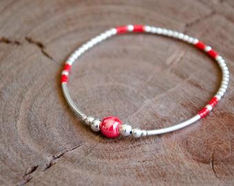 Bracelet JULIS Red and 925 Sterling Silver - Beaded bracelet