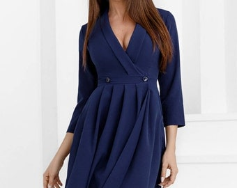 Navy blue dress casual wear Midi dress spring Office dress fold Casual womens gown Knee Day dress Flared dress long sleeve
