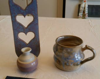 vintage ceramic pottery stoneware drinking mug / cup signed john beekman & wall hanging candle holder w/ hearts - blue purple swirl art deco