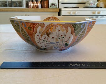 vintage japan octagon serving bowl - signed porcelain ceramic imari cloisonne bird flowers fruit oriental heron cranes lotus asian japanese