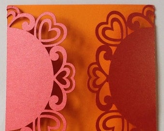 Red and orange lace heart wedding invitation