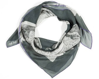 Silk Scarf, Chiffon Scarf, Black and Silver, Square Silk scarf, From original Graphite Pencil painting,  Ready to Ship