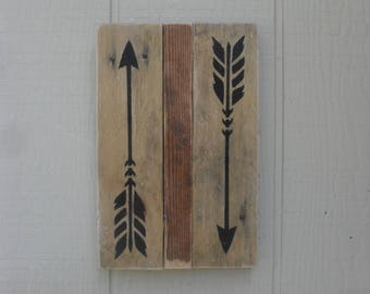 Reclaimed Pallet Wood Wall Art Arrows Rustic Boho Native American Primitive Sign Decor