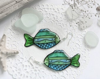 Blue fish earrings Nautical jewelry for women gift Goldfish earrings Good luck gifts Summer birthday gift Sea jewelry Tropical earrings gift