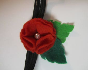 Red flower with whitbead on elastic headband
