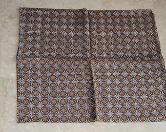 Scarf, silk indian square print  with white weels