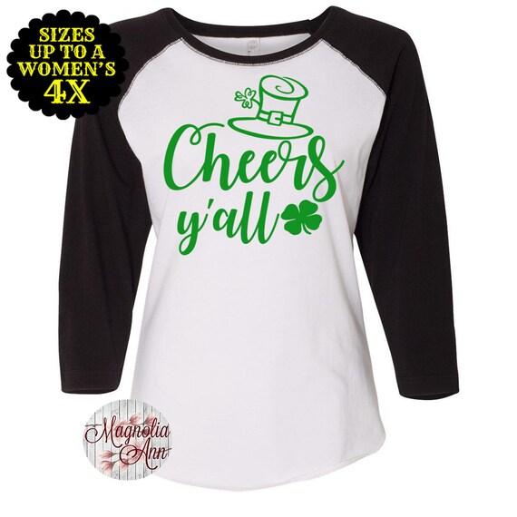 Cheers Y'all Baseball Raglan T shirt, Sizes Small-4X, St Patrick's Day Shirt, St Patrick's Day Tee, Plus Size Clothing, Plus Size Shirt