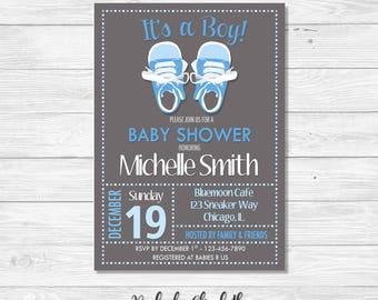 Baby Shower Invitation, It's a Boy Invitation, Baby Sneakers Invitation, *DIGITAL FILE*