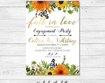 Fall in Love Bridal Shower Invitation, Fall in Love Engagement Party, Sunflower Bridal Shower Invite, Gold Invitation, *DIGITAL FILE*