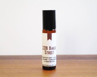 221B BAKER STREET / Tobacco Leaf Clove Leather Coriander & Toasted Oak / Book Inspired / Sherlock Holmes Collection / Roll-On Perfume Oil