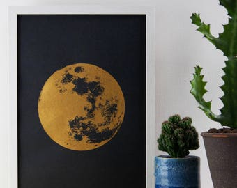 Moon Print, Gold Print, Realistic Moon, Boho, Bohemian, Poster, A3 Art Print, Print, Screenprint, Gift Idea, Print