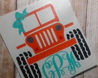 Detailed Jeep Decal/Jeep Monogram/Car Monogram/Car Decal/Monogram/Decal/Jeep Wrangler Decal/Topless Jeep Decal/YETI