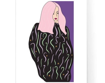 Pink Hair Girl Illustration / Limited Edition Print / Early Morning Illustration / Magic Girl Art / Instant Download / 2JPEG Files