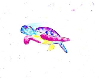 Sea Turtle Print, Colourful Sea Life Prints, Colorful Turtle Prints, Pink Bathroom Wall Art, Sea Life Bathroom Decor, Turtle Gift Art Blue