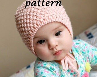 Pattern Baby Bonnet, baby Hat, Hand knit Bonnet, Newborn Hat, Baby Cap, Cotton Bonnet, baby knitwear
