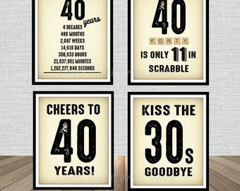 40th Birthday Newspaper Poster Sign Bundle Pack, Back in 1978, Printable, Cheers to 40 Years, 40 in scrabble, Kiss the 30's Goodbye