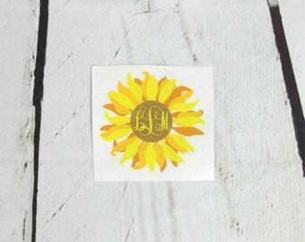 Monogram Sunflower Decal / Sunflower Car Decal / Sunflower Cup Decal / Sunflower Monogram / Monogram Car Decal / Monogram Flower Cup Decal