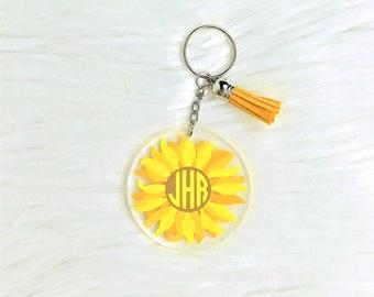Sunflower Key Chain, Keychain, Tassel Keychain, Monogram Keychain, Keychain, Name Keychain, Cute Keychain, Keychain for Women, Birthday Gift