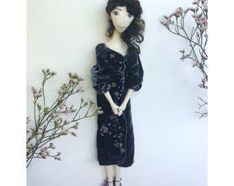 JULIA Collectible Handmade Fabric Art Doll OOAK Textile Soft Sculpture