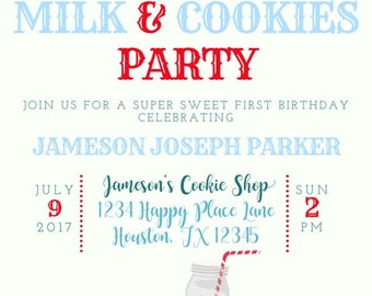 Red, White and Blue Vintage Circus Cookies and Milk Kids Birthday Party Invitation