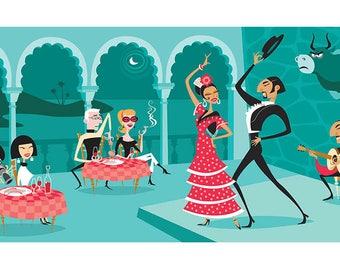 Spanish Retro Scene, Spain, Andalucia, Spanish Tavern, Flamenco Tablao, Toro, Fiesta, flamenco dancer, Gypsies, Print, tipical Spanish