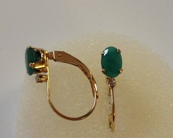 14K Gold Diamond with Green Gemstone Levelback Earrings