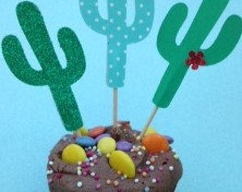 Cactus Cake Toppers Prom Birthday Party Hen Night Anniversary Barbeque Mexican Party Decor