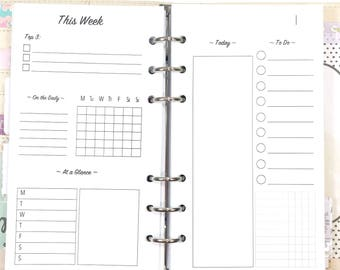 Personal Size Day On One Page, Daily, Hourly, Timed Inserts for Ringbound Planners